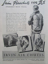 9/1946 PUB IRVING AIR CHUTE IRVIN BACK PARACHUTE TYPE B5 ORIGINAL AD