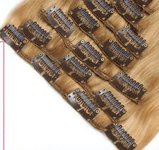 """Blonde Wavy 8 Pieces Weft Clip in 100% Real Remy Human Hair Extensions 100G 22"""""""