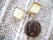 SMALL NINE WEST SQUARE WHITE AGATE BEZEL SET PIERCED POST EARRINGS, VINTAGE ITEM