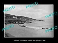 OLD LARGE HISTORIC PHOTO OF PORTSALON DONEGAL IRELAND, VIEW OF THE PIER c1900