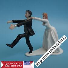 Funny Figurine Wedding Cake Toppers Bride Groom Humor Marriage Groom escape C107