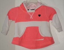 CARTER'S Girls Size 3 Months Orange White Striped Long Sleeves Hoody
