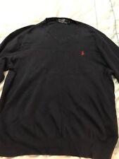 Mens Polo Ralph Lauren Grey 100% Cotton Long Sleeve V-Neck Jumper BNWT ~ Size XL
