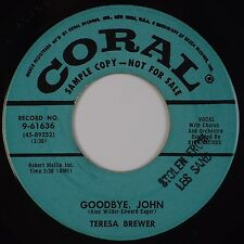 TERESA BREWER: Goodbye, John / Sweet Old Fashioned Girl CORAL DJ Promo 45