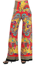 PALAZZO Pants Foldover/High Waist Wide Leg Paisley Red MEDIUM B684Rd