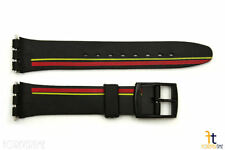 17mm Men's Red/Yellow Stripes Design Black Watch Band Strap fits SWATCH watches