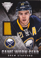 13-14 Titanium Drew Stafford /50 Jersey Game Worn Gear Prime Sabres Panini