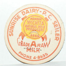 WICHITA KANSAS SUNRISE DAIRY P.C. SEILER MILK CAPS X 10 VINTAGE ANTIQUE