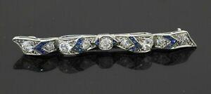 Platinum elegant 1.70CTW VS diamond & Blue sapphire ribbon bar brooch