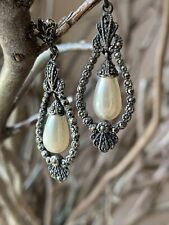 Vintage 925 Sterling Silver Drop Earrings With Faux Pearl And Marcasites