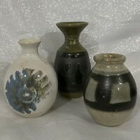 "3 Studio Pottery Art Mini Vases Jars Blue Green Brown Abstract Modern JWC 3""-4"""