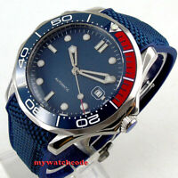 41mm bliger sterile blue dial luminous sapphire glass date automatic mens watch