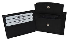 MENS LEATHER WALLET BIFOLD Plain ID Credit Card Change Coin Holder Front Pocket