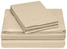 Atelier Home Linen 600-Thread-Count Queen Size Bed Sheets,Beige-4 Piece Set