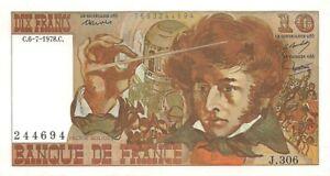 Billet de 10 f. Berlioz du 6/7/1978 J.306 Neuf dernière série valeur en hausse