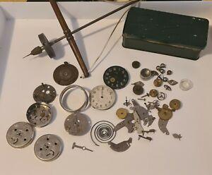 Antique Jeweller's Pump Drill & Assortment of ORIS Watch Parts. Bulk Lot.