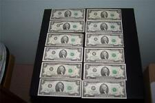 US 1976 2 Dollar Note Complete Set US 2 Dollar Bill Complete Set A-L (12 notes)