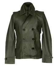 DIESEL L-KORA OLIVE GREEN LEATHER JACKET SIZE S 100% AUTHENTIC