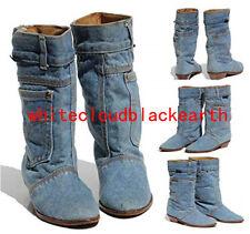 Womens Jean Denim canvas Mid Calf Boots Oxfords Low Heels Cowboy Shoes Vintage