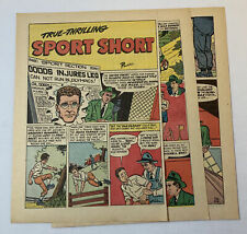 1949 four page cartoon story ~ runner GIL DODDS The Flying Parson