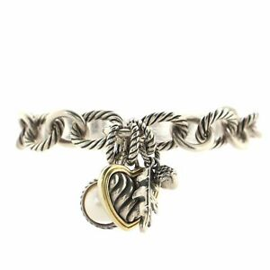 David Yurman Oval Link Charms Bracelet Sterling Silver and 18K Yellow Gold with
