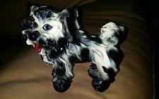 ADORABLE VINTAGE ITALIAN SPAGHETTI POTTERY TERRIER DOG ITALY BLACK AND WHITE EXC