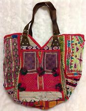 **HANDCRAFTED GUJARATI EMBROIDERED FABRIC TOTE BAG W/ BROWN LEATHER STRAPS**