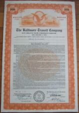 1964 'Baltimore Transit Co' Bond Certificate - Early Bus & Trolley Vignette - Md