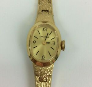 Vintage Caravelle Watch Women Gold Tone Textured Manual Wind UP New Battery