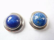 Lapis Round 925 Sterling Silver Stud Earrings Corona Sun Jewelry
