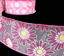 "5 Yards Pink Daisies Daisy Flowers Sheer Wired Ribbon 2 1/2""W"