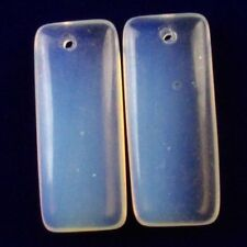 2Pcs 35x15x6mm Opal Opalite Oblong Pendant Bead F90051