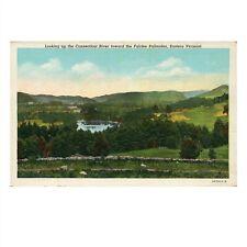 Vintage c1940s Linen Postcard: Connecticut River Toward Fairlee Palisades VT