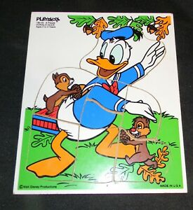 Walt Disney Productions Donald Duck with Chip 'n' Dale Wooden Puzzle