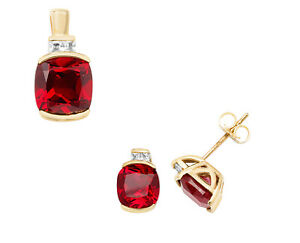 Ruby Cushion Pendant and Earrings Set Solid 9k Yellow Gold White Sapphire