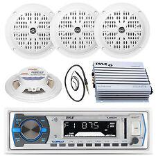 "5.25"" Black Marine Speakers, Pyle AUX AM FM Radio,Antenna, Marine 400W Amplifier"