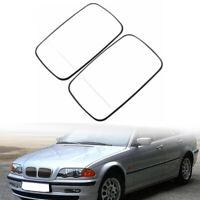 Left + Right Side White Heated Mirror Glass For BMW E39 E46 320i 330i 325i 525i