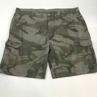 Wrangler Cargo Shorts Mens 44 Green Tan Gray Flat Front Cotton Camouflage Casual