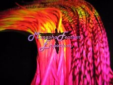 Feather extensions XL HOT PINK FIRE 10 Tie-dye Grizzly Solids Whiting Saddle