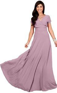 🌸NWT KohKoh Women's Short Sleeve V Neck Flowy Stretchy Dusty Pink Maxi Dress XL
