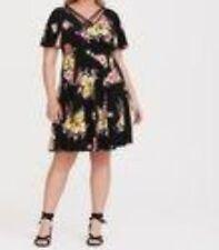 b4b7f240a2e Torrid Black Floral Jersey Knit Skater Dress 4x 26  88223