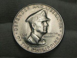 BU 1947-s Silver 50¢ Centavos Philippines Gen D MacArthur White!  #21