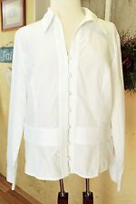 Jones New York Peplum Dress Blouse Shirt XL White Fitted Long Sleeves Cotton