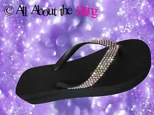 Crystal WEDGE flip flop  with 450 Swarovski Rhinestones AB Iridescent 4 rows