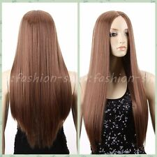 New Women Lady Long Straight Brown Blonde Full Wig Synthetic Party No Bangs Wigs