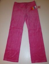 Authentic JUICY COUTURE Girls Pink Plumeria Velour TRACK PANTS Sz.XL 12/14 NWT