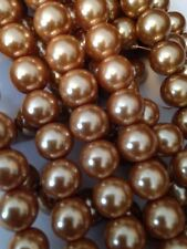 """15-16"""" Light Gold 10mm Round Glass Pearls Beads L@@K SALE"""
