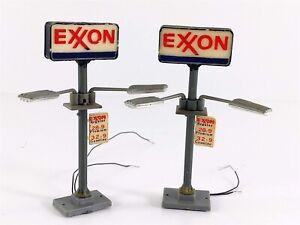 Life-Like Light Ups EXXON Oil Gas Station Signs HO Scale Working