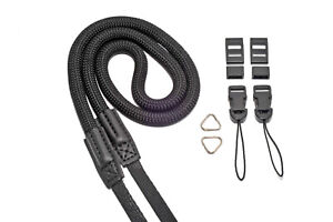 Fully Adjustable Nylon Rope Camera Strap With Quick Release & Split Rings Black