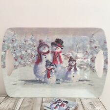 MCNEIL SNOWMAN FAMILY LARGE MELAMINE LAP DINNER TRAY CHRISTMAS DINING HOME DECOR